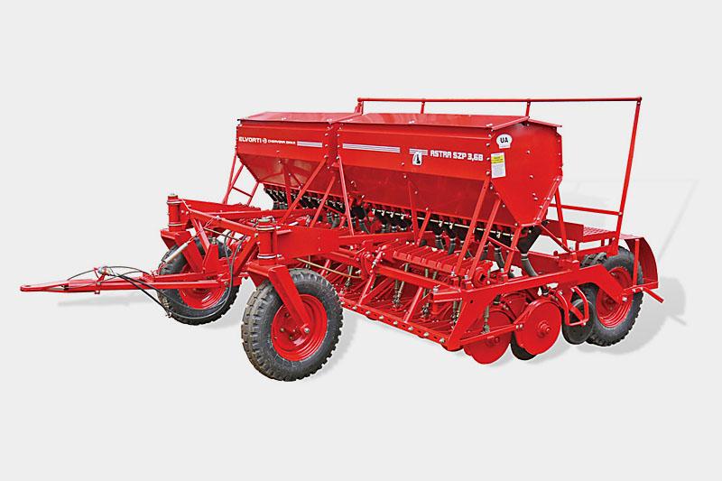 Сеялка ASTRA 3,6Б-03 зерновая (прессовая, редуктор, цепной загортач, прикатка)(Объем бункера:  для зерна – 638 дм3, для туков – 426 дм3)