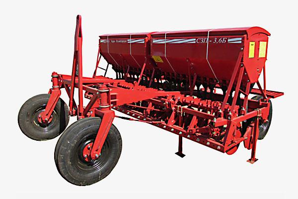 Сеялка зерновая зернотуковая СЗП-3,6 с прикатывающими катками(Объем бункера:  для зерна – 680 дм3, для туков – 320 дм3, междурядье – 150 мм)
