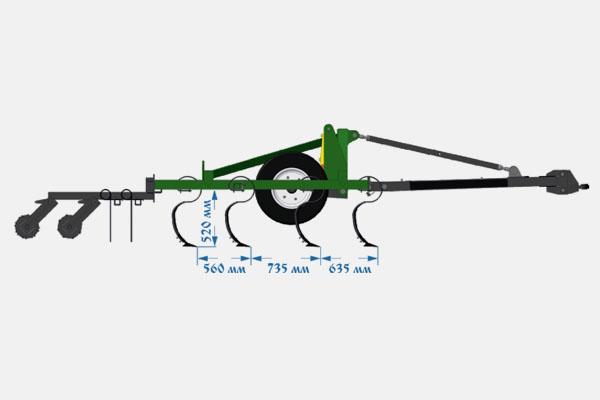 Культиватор сплошной обработки предпосевной серии «КПУ» прицепной: КПУ-6П 3Б2К, 6,2 м., 3 р. боронок, 2 катка зубчатых