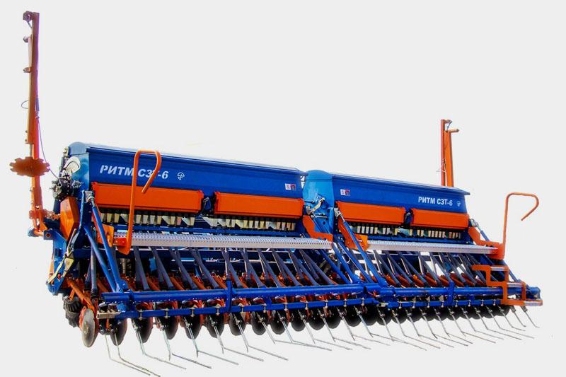 Сеялка зернотуковая РИТМ СЗТ-6 с внесением удобрений,  электронным устройством для создания технологической колеи