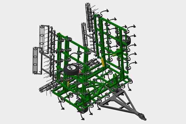 Культиватор предпосевной складной сплошной обработки (прицепной) КПУ-12ПГ 3Б2К, 11,9 м., 3 р. боронок, 2 катка зубчатых