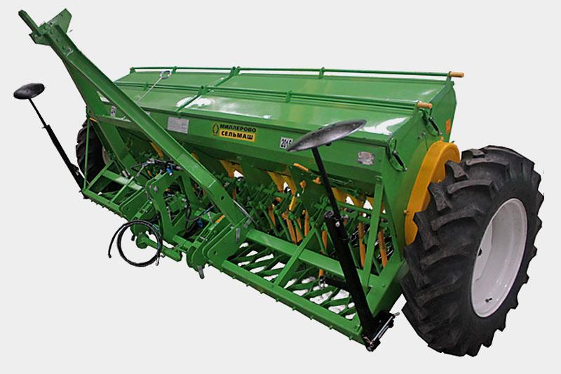Сеялка зернотуковая  С3-3,6 комплектация:двудисковый сошник, универсальный дозатор семян и удобрений, гидравлические маркеры, цепные загортачи, шины 12.4-24