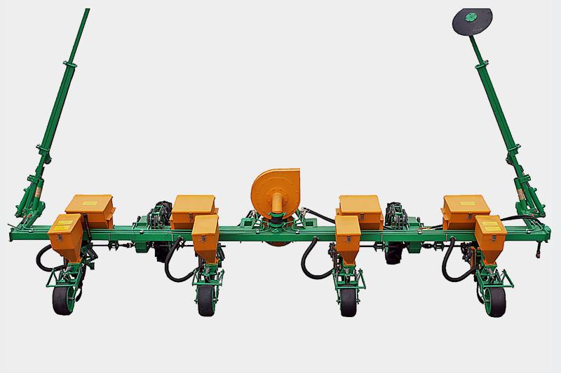 Сеялка пропашная навесная пневматическая МС-4 для высева бахчевых и овощных культур Междурядье 140 см, с вентилятором, туковой системой с бункером из черного металла
